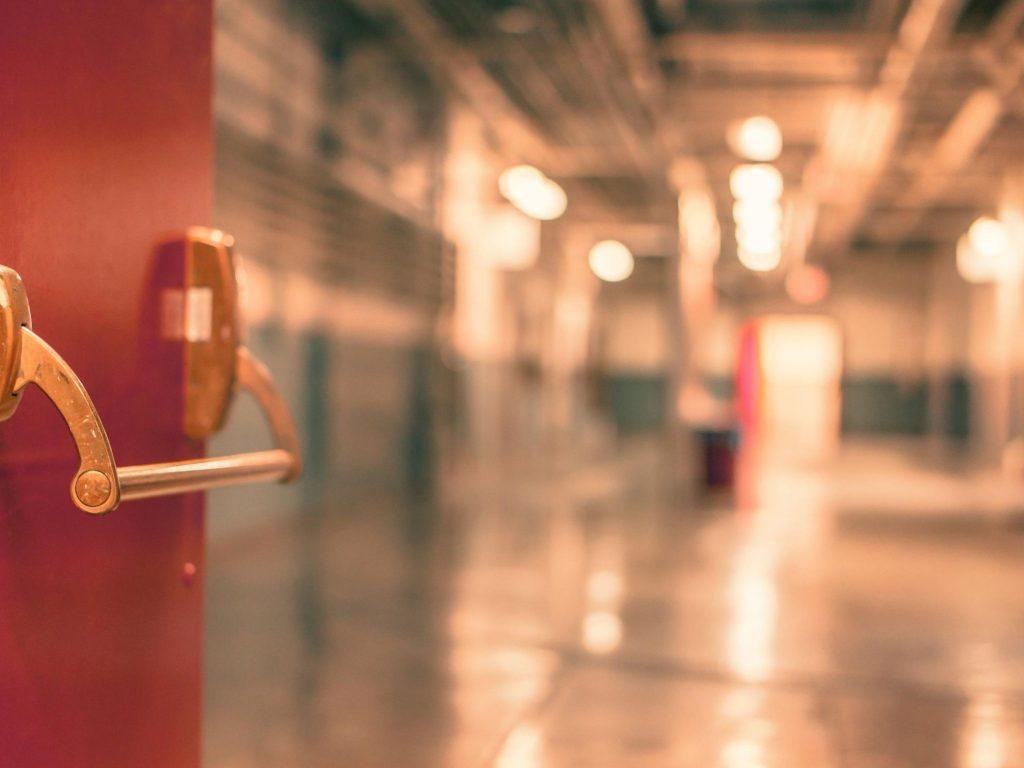 Red factory door
